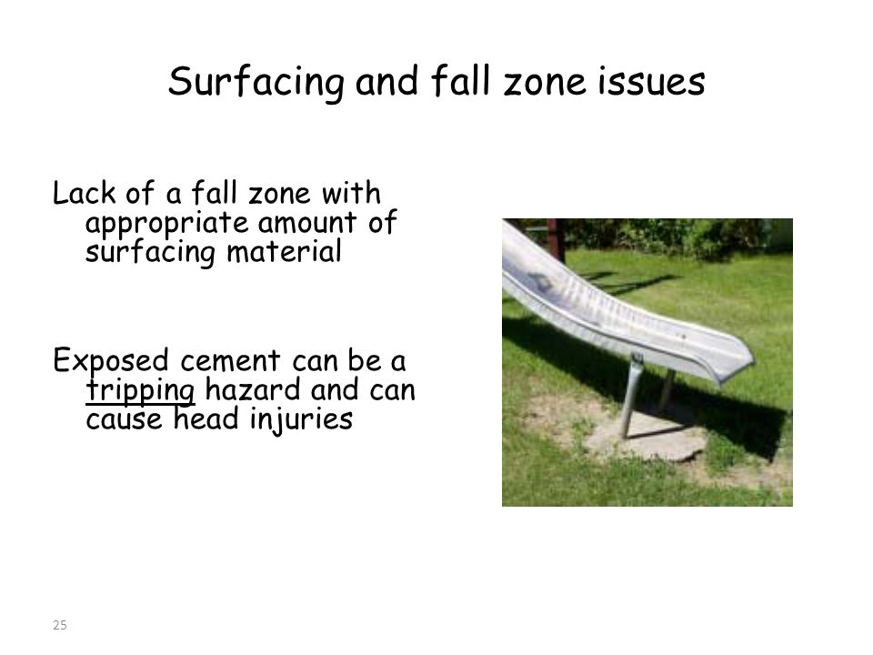 25 Surfacing and fall zone issues Lack of a fall zone with appropriate amount of surfacing material Exposed cement can be a tripping hazard and can cause head injuries