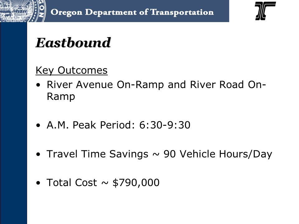 Eastbound Key Outcomes River Avenue On-Ramp and River Road On- Ramp A.M. Peak Period: 6:30-9:30 Travel Time Savings ~ 90 Vehicle Hours/Day Total Cost