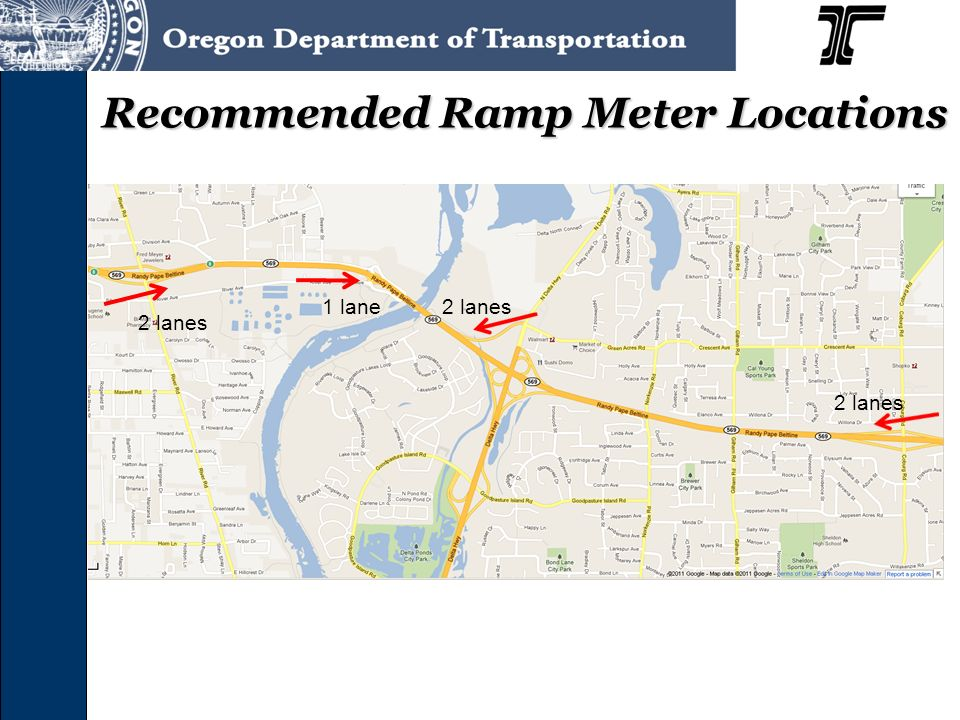 Recommended Ramp Meter Locations 2 lanes 1 lane