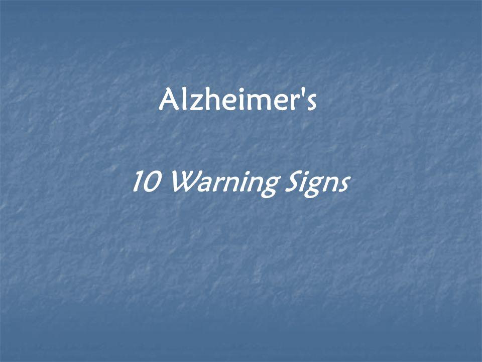 Alzheimer s 10 Warning Signs