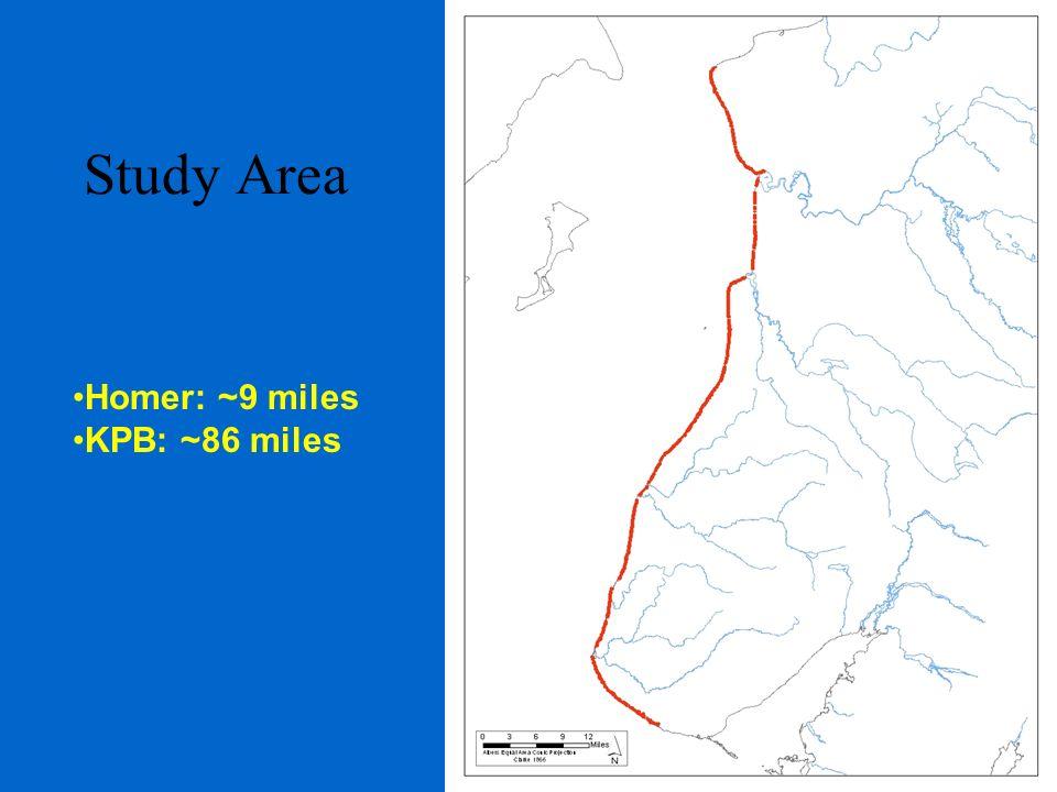 Study Area Homer: ~9 miles KPB: ~86 miles