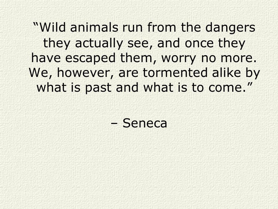 Wild animals run from the dangers they actually see, and once they have escaped them, worry no more. We, however, are tormented alike by what is past