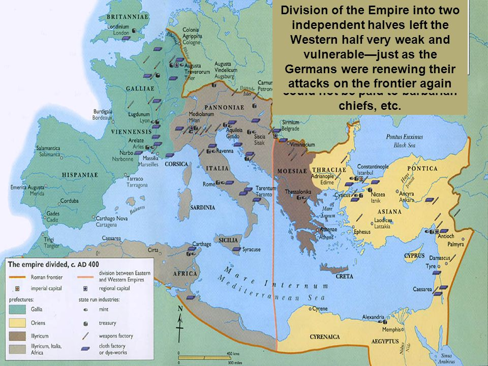 Constantine had divided the empire in half, each ruled by a co-emperor, with the eastern emperor in Constantinople as the senior partner The two halve