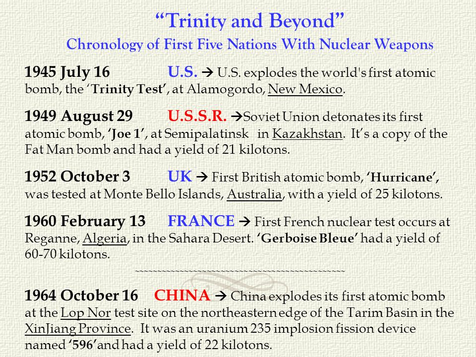 Trinity and Beyond Chronology of First Five Nations With Nuclear Weapons 1945 July 16 U.S.