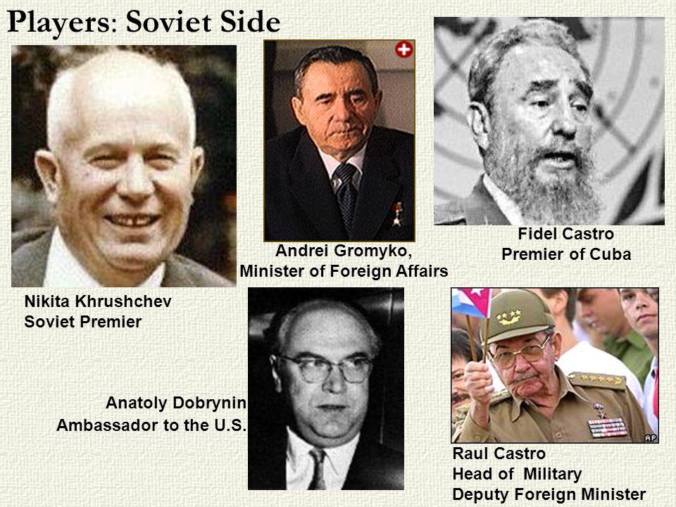 Players: Soviet Side Nikita Khrushchev Soviet Premier Anatoly Dobrynin Ambassador to the U.S.