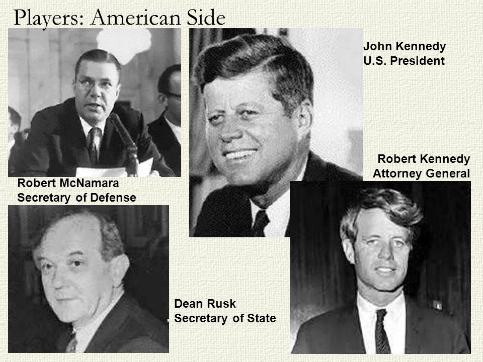 John Kennedy U.S. President Robert McNamara Secretary of Defense Robert Kennedy Attorney General Dean Rusk Secretary of State Players: American Side