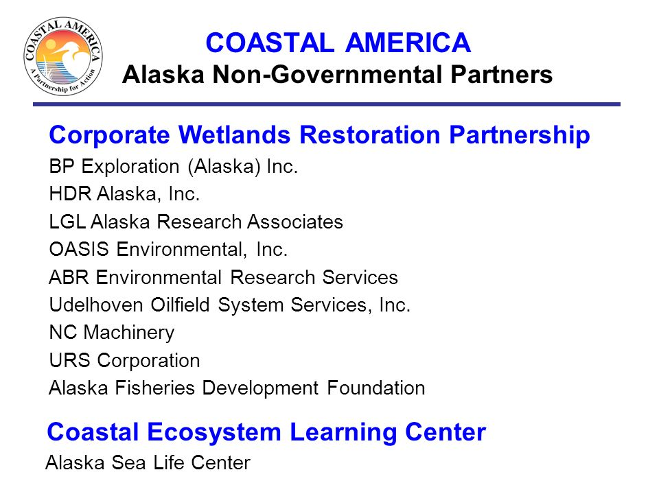 COASTAL AMERICA Alaska Non-Governmental Partners Corporate Wetlands Restoration Partnership BP Exploration (Alaska) Inc. HDR Alaska, Inc. LGL Alaska R