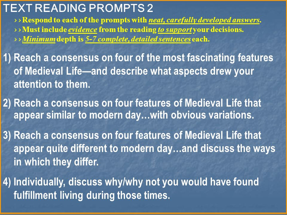 TEXT READING PROMPTS 2 >> Respond to each of the prompts with neat, carefully developed answers.