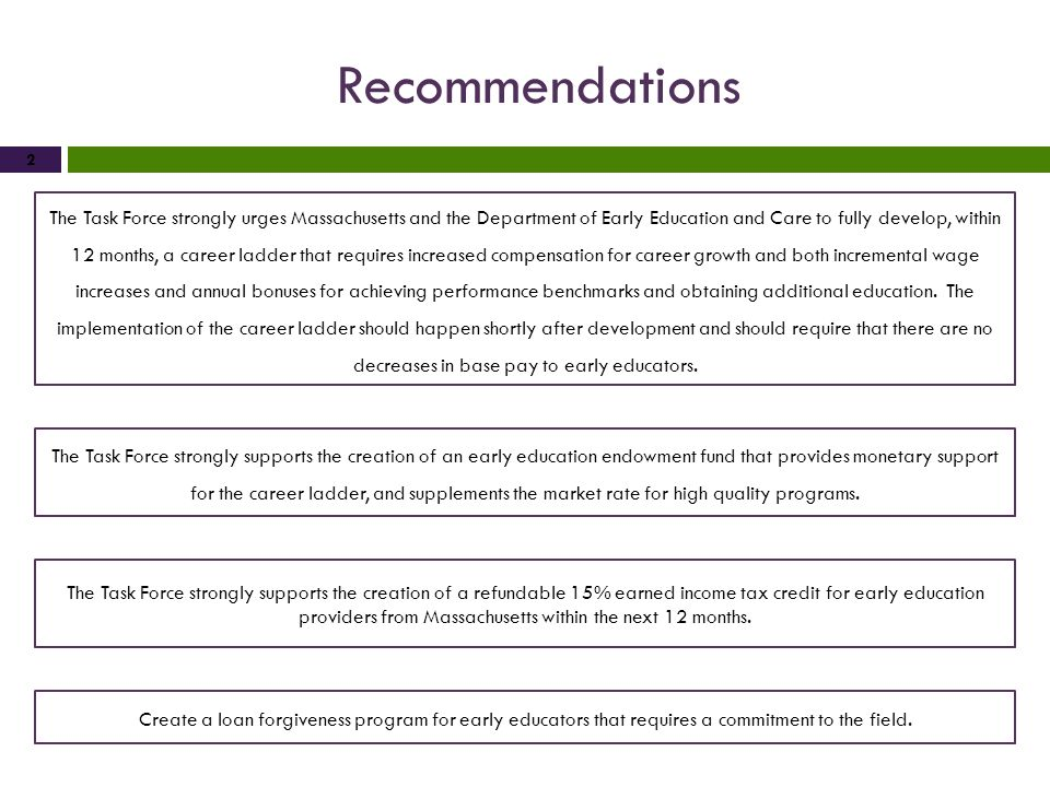 Recommendations 2 The Task Force strongly urges Massachusetts and the Department of Early Education and Care to fully develop, within 12 months, a car