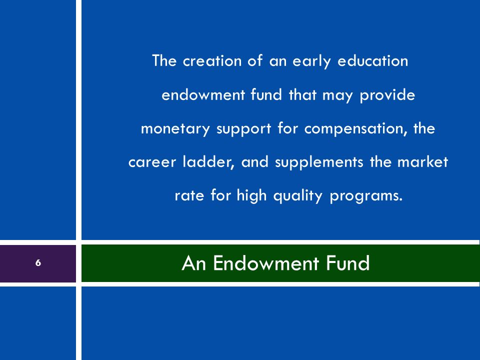 The creation of an early education endowment fund that may provide monetary support for compensation, the career ladder, and supplements the market rate for high quality programs.