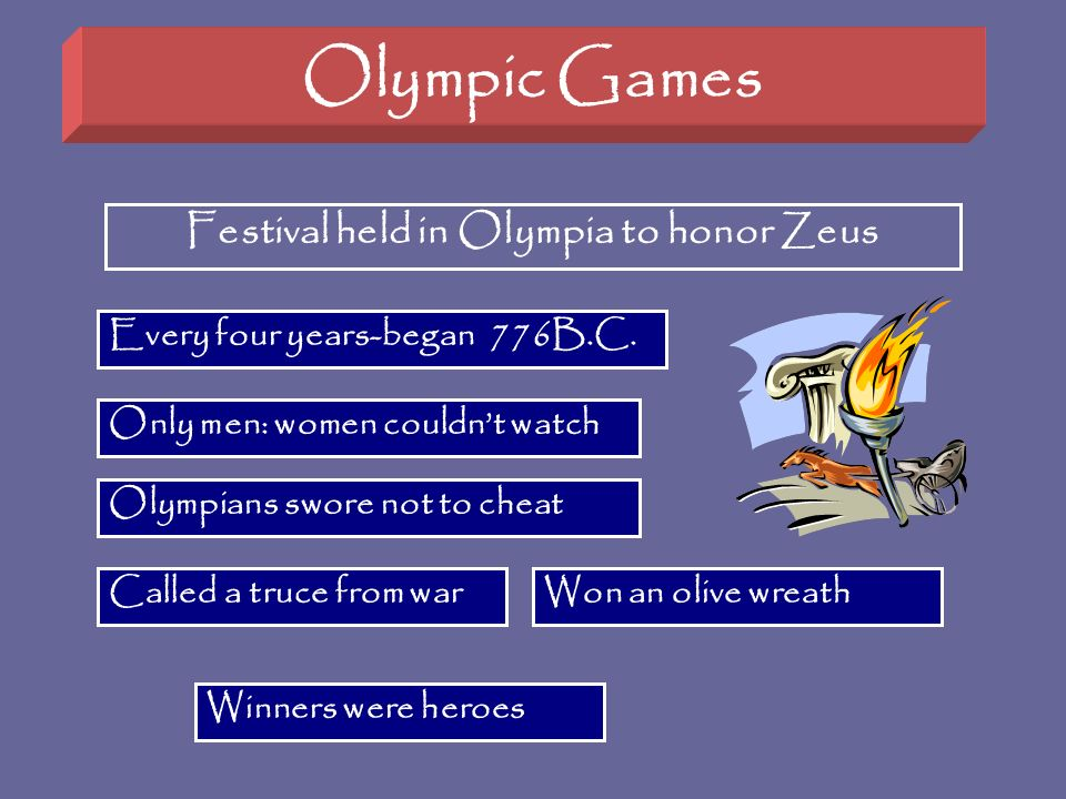 Olympic Games Festival held in Olympia to honor Zeus Every four years-began 776B.C. Called a truce from war Only men: women couldnt watch Won an olive