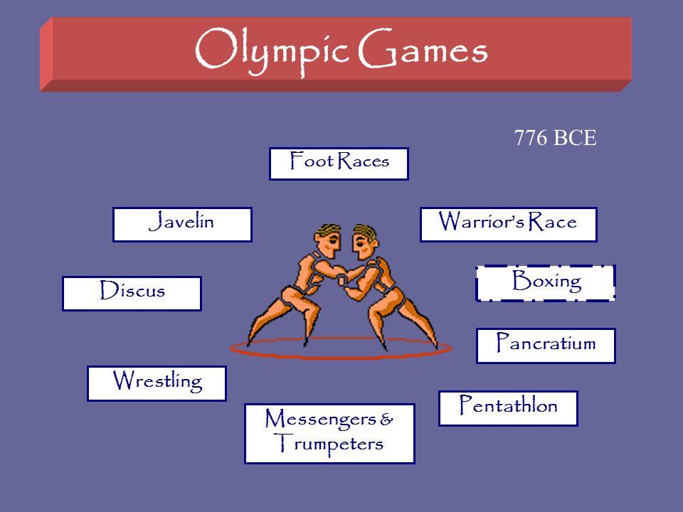 Olympic Games Foot Races Pancratium Boxing Warriors Race Wrestling Pentathlon Javelin Discus Messengers & Trumpeters 776 BCE