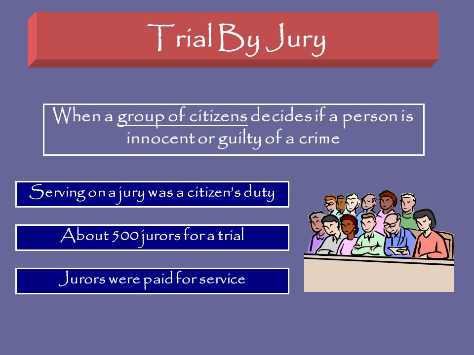 Trial By Jury When a group of citizens decides if a person is innocent or guilty of a crime Serving on a jury was a citizens duty About 500 jurors for