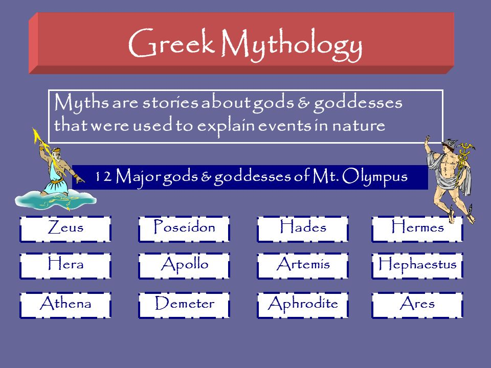 Greek Mythology Myths are stories about gods & goddesses that were used to explain events in nature PoseidonHadesHermes HeraApolloArtemis Hephaestus A