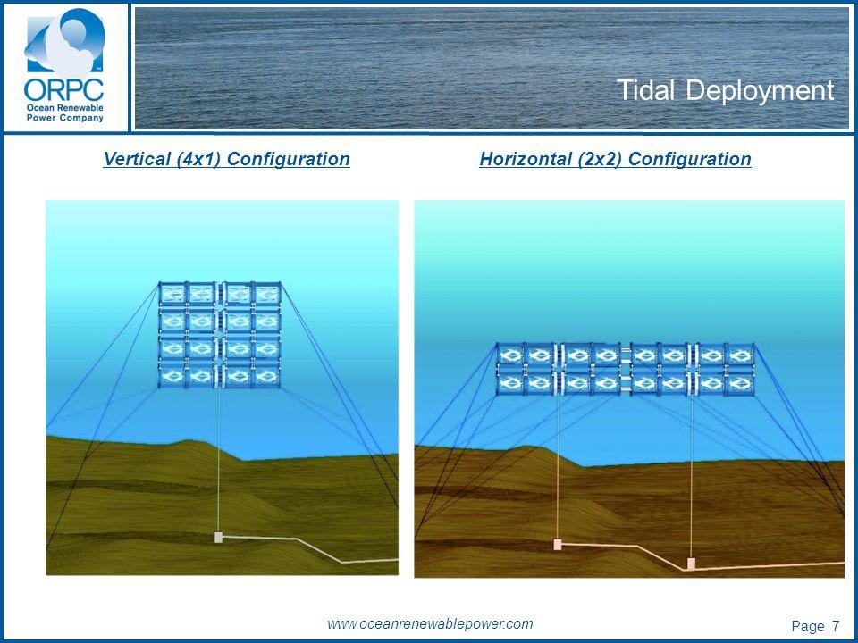 www.oceanrenewablepower.com Tidal Deployment Vertical (4x1) ConfigurationHorizontal (2x2) Configuration Page 7