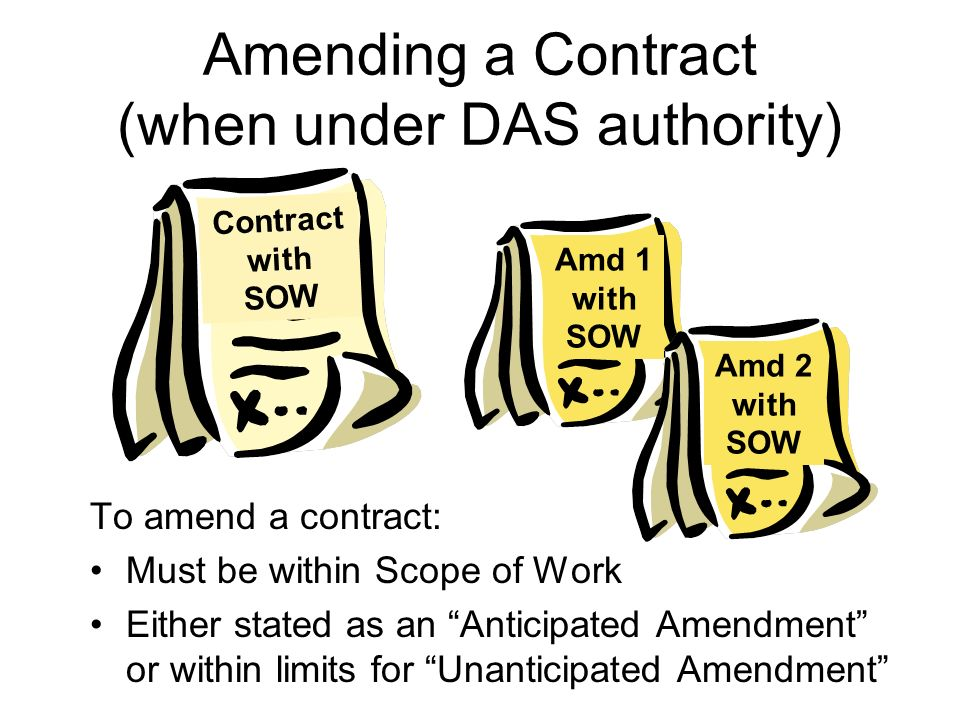Amending a Contract (when under DAS authority) To amend a contract: Must be within Scope of Work Either stated as an Anticipated Amendment or within l
