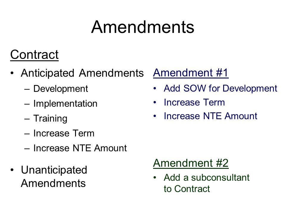 Amendments Contract Anticipated Amendments –Development –Implementation –Training –Increase Term –Increase NTE Amount Unanticipated Amendments Amendme