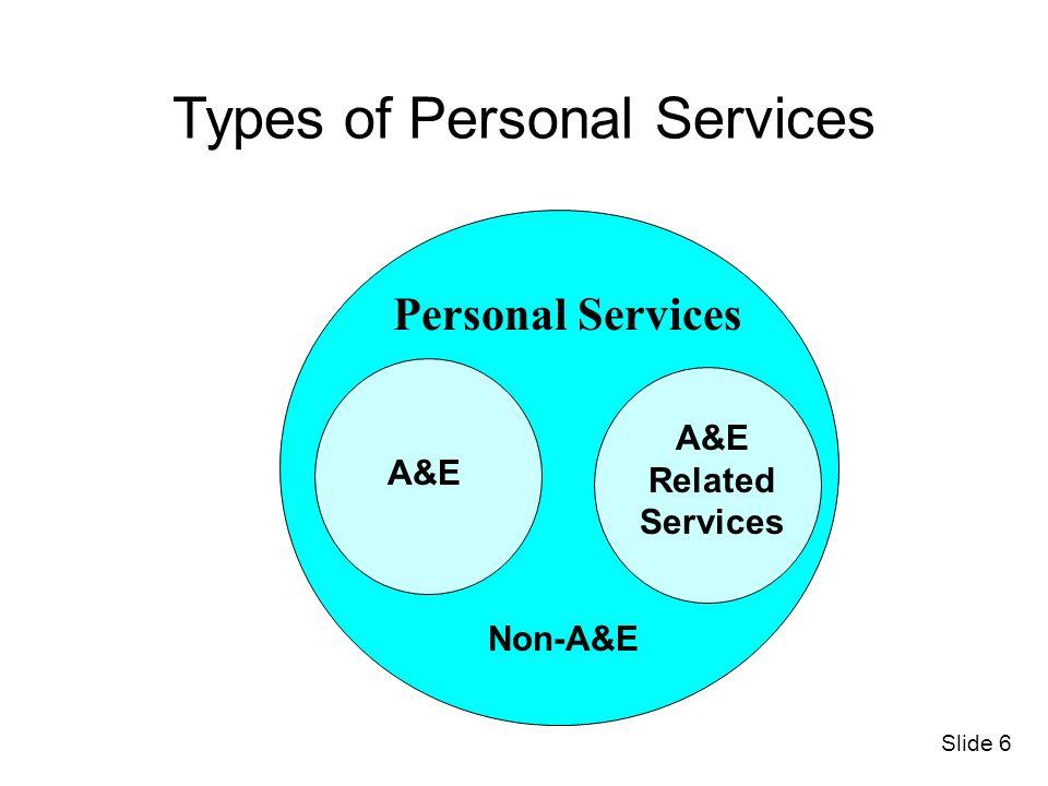 Personal Services A&E Related Services Non-A&E Types of Personal Services Slide 6 A&E