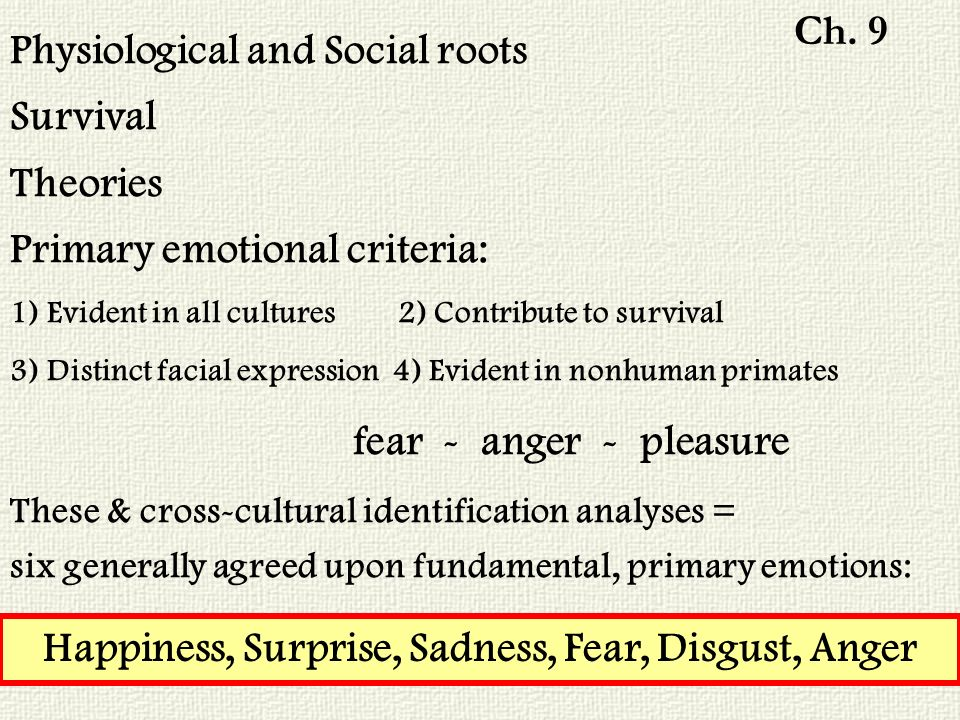 Physiological and Social roots Survival Theories Primary emotional criteria: 1) Evident in all cultures 2) Contribute to survival 3) Distinct facial expression 4) Evident in nonhuman primates fear - anger - pleasure These & cross-cultural identification analyses = six generally agreed upon fundamental, primary emotions: Happiness, Surprise, Sadness, Fear, Disgust, Anger Ch.