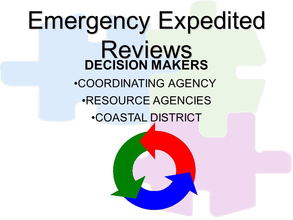 Emergency Expedited Reviews DECISION MAKERS COORDINATING AGENCY RESOURCE AGENCIES COASTAL DISTRICT