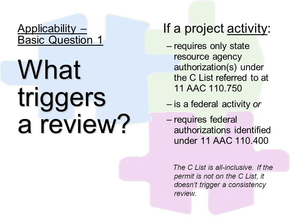 If a project activity: –requires only state resource agency authorization(s) under the C List referred to at 11 AAC 110.750 –is a federal activity or