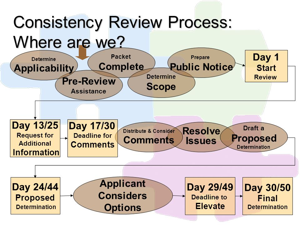 Consistency Review Process: Where are we? Packet Complete Pre-Review Assistance Resolve Issues Day 24/44 Proposed Determination Day 29/49 Deadline to