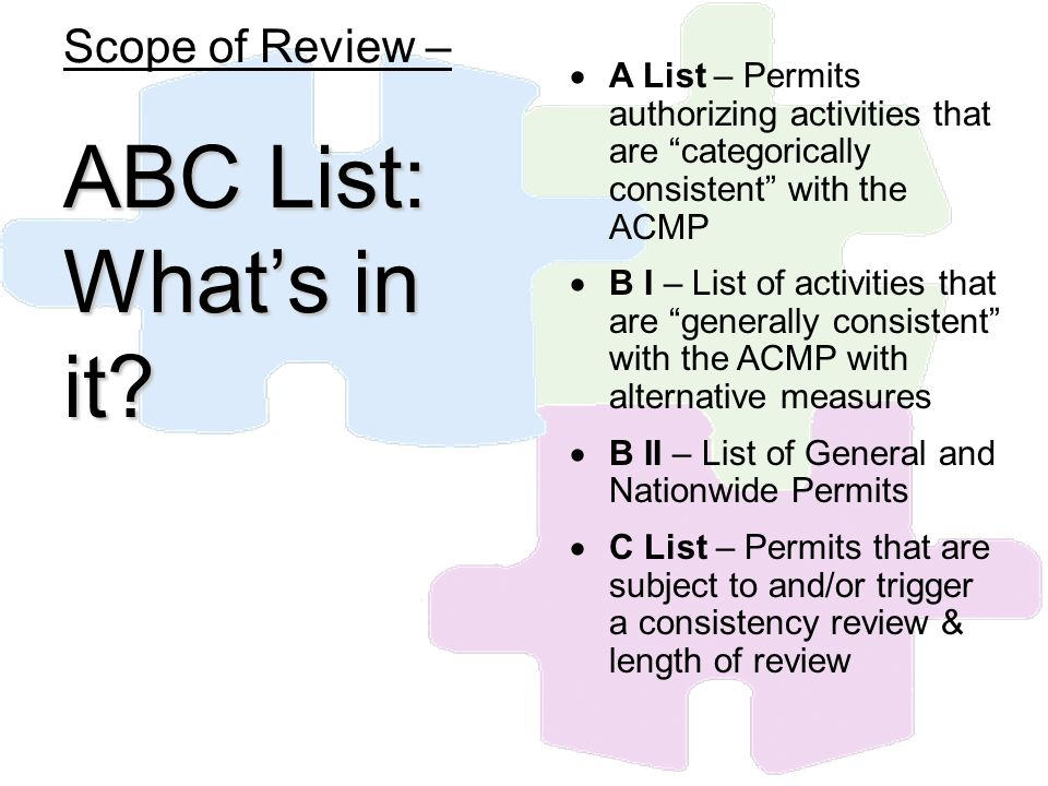 Scope of Review – ABC List: Whats in it? A List – Permits authorizing activities that are categorically consistent with the ACMP B I – List of activit