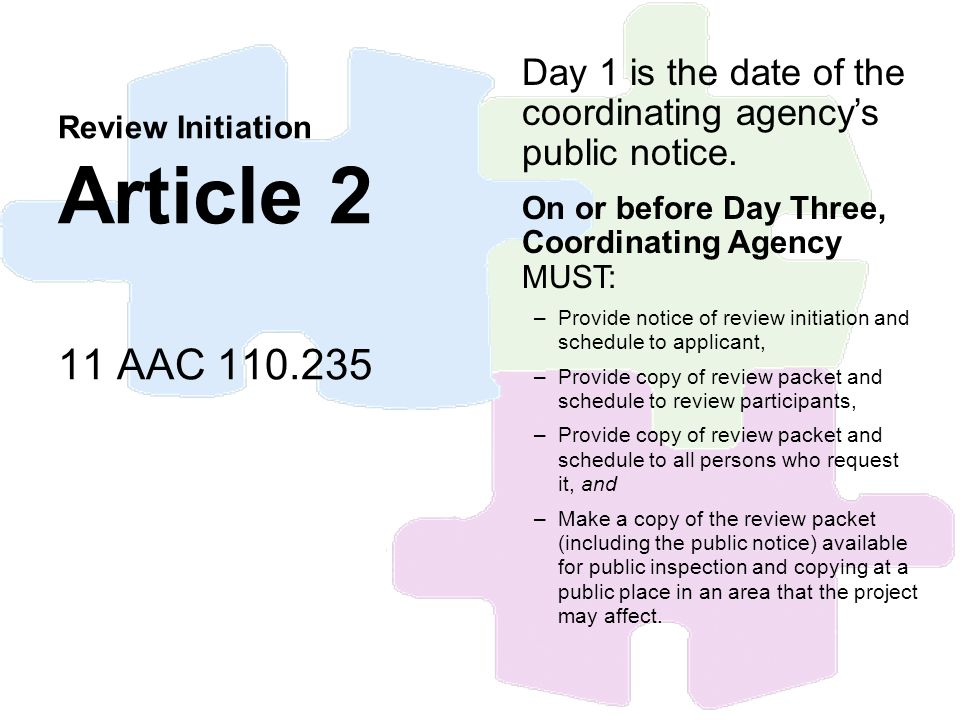 Review Initiation Article 2 11 AAC 110.235 Day 1 is the date of the coordinating agencys public notice. On or before Day Three, Coordinating Agency MU