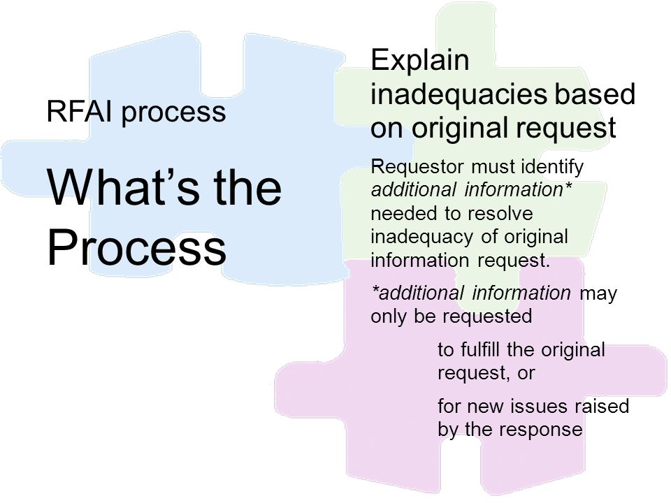 RFAI process Whats the Process Explain inadequacies based on original request Requestor must identify additional information* needed to resolve inadeq