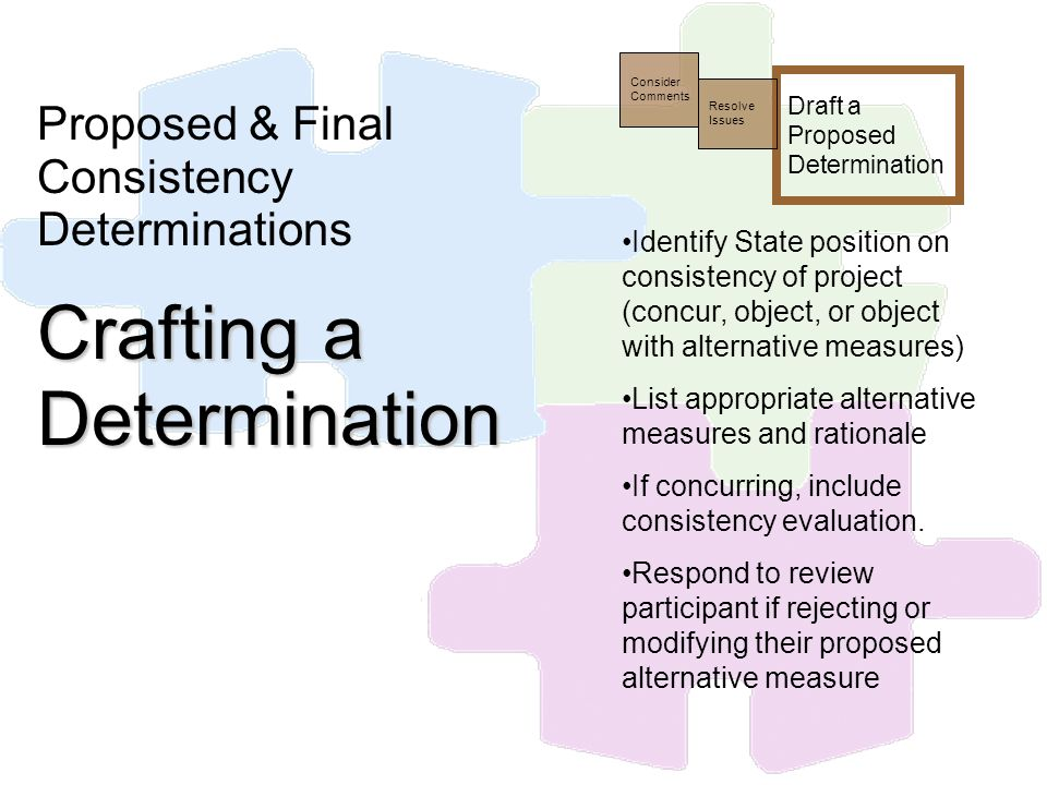 Draft a Proposed Determination Resolve Issues Consider Comments Identify State position on consistency of project (concur, object, or object with alte