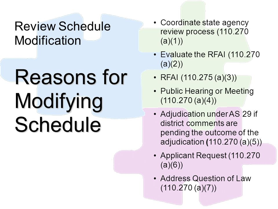 Review Schedule Modification Reasons for Modifying Schedule Coordinate state agency review process (110.270 (a)(1)) Evaluate the RFAI (110.270 (a)(2))