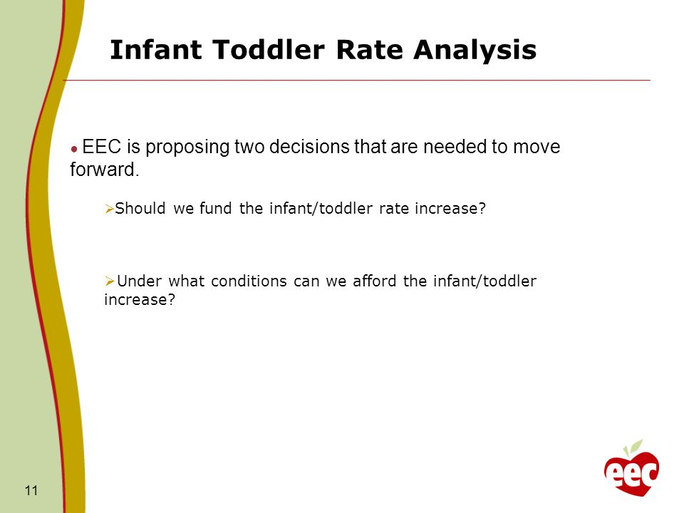 Infant Toddler Rate Analysis 11 EEC is proposing two decisions that are needed to move forward. Should we fund the infant/toddler rate increase? Under