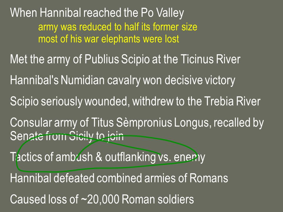 When Hannibal reached the Po Valley army was reduced to half its former size most of his war elephants were lost Met the army of Publius Scipio at the