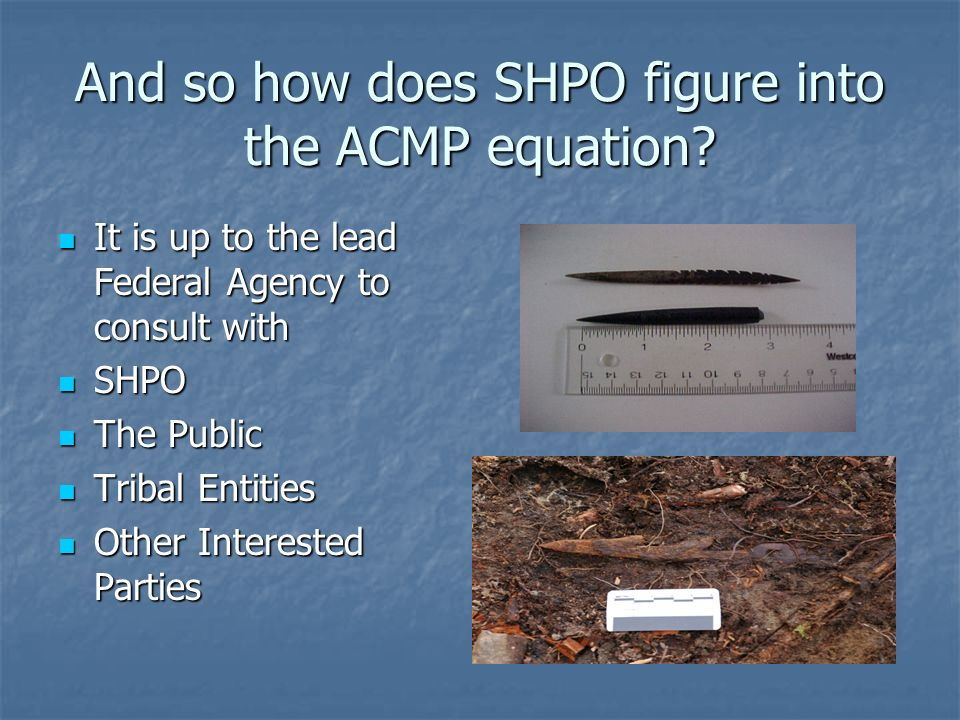 And so how does SHPO figure into the ACMP equation.