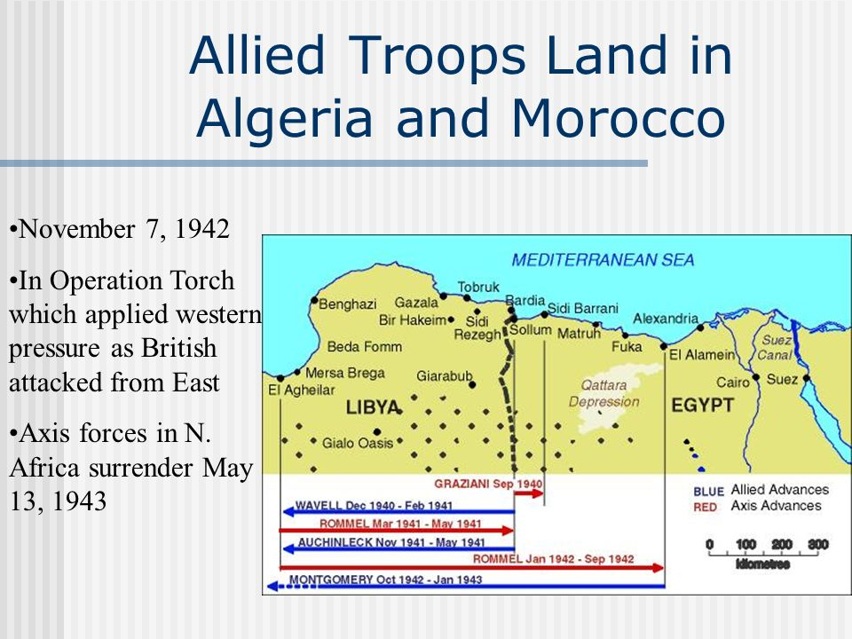 Allied Troops Land in Algeria and Morocco November 7, 1942 In Operation Torch which applied western pressure as British attacked from East Axis forces