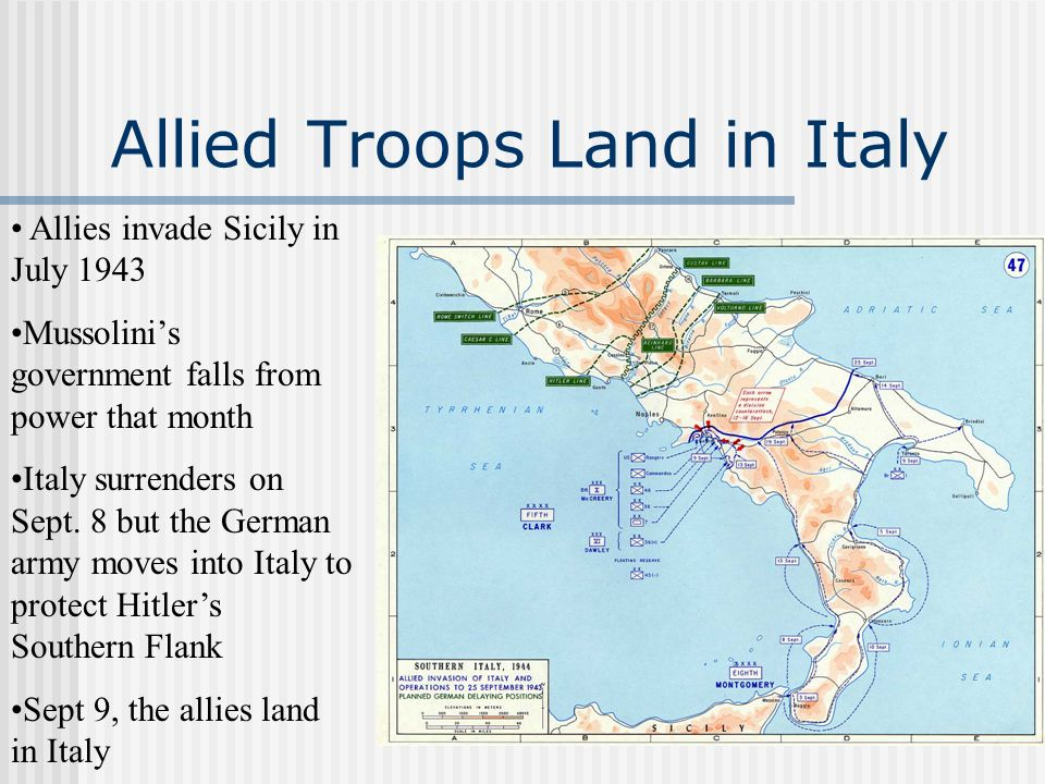 Allied Troops Land in Italy Allies invade Sicily in July 1943 Mussolinis government falls from power that month Italy surrenders on Sept. 8 but the Ge