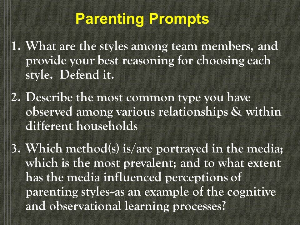 Parenting Styles Authoritarian Highly rigid Obedience- and status- oriented, and expect their orders to be obeyed without explanation Well-ordered & s