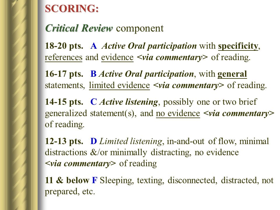 SCORING: Critical Review Critical Review component pts.