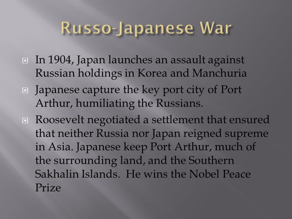 In 1904, Japan launches an assault against Russian holdings in Korea and Manchuria Japanese capture the key port city of Port Arthur, humiliating the
