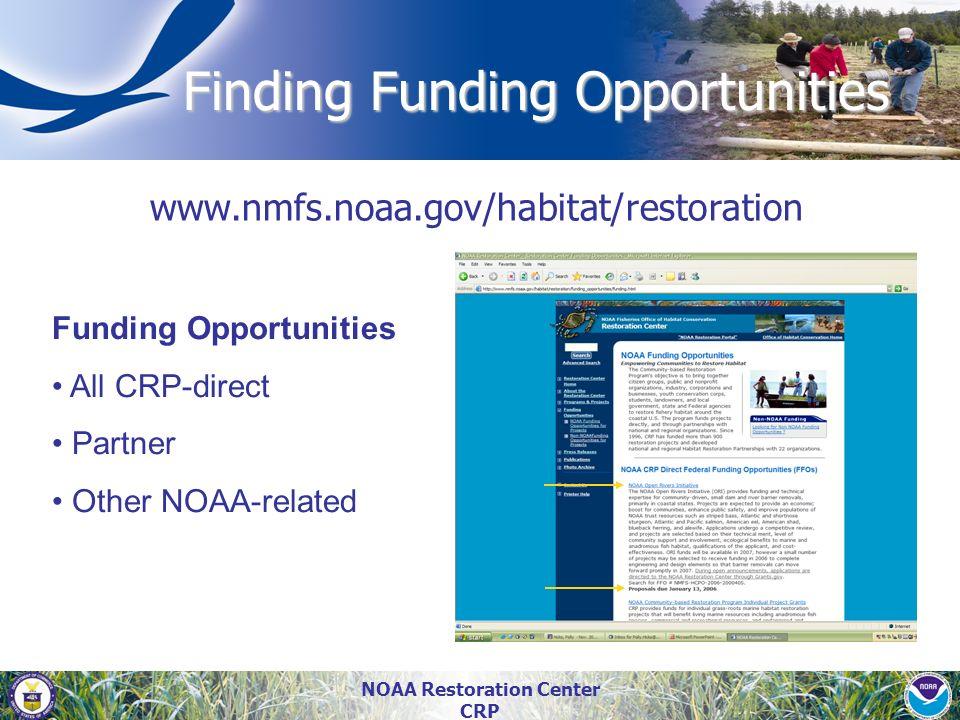 NOAA Restoration Center CRP Finding Funding Opportunities www.nmfs.noaa.gov/habitat/restoration Funding Opportunities All CRP-direct Partner Other NOA