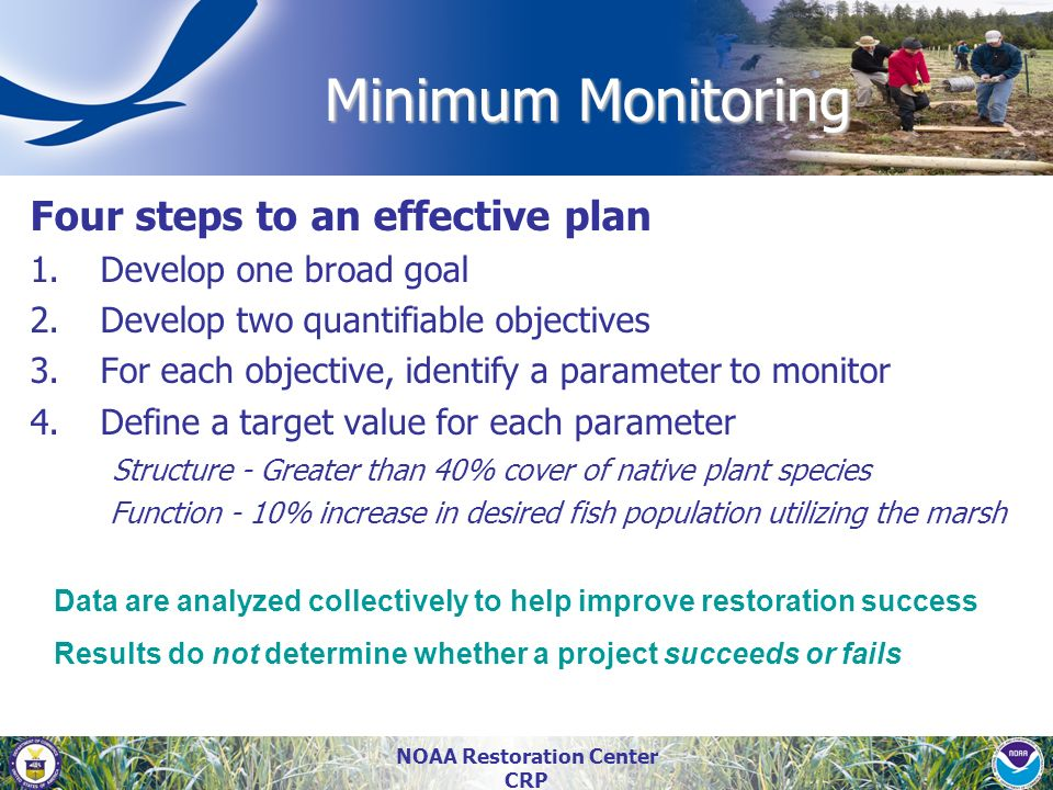 NOAA Restoration Center CRP Minimum Monitoring Four steps to an effective plan 1.Develop one broad goal 2.Develop two quantifiable objectives 3.For ea