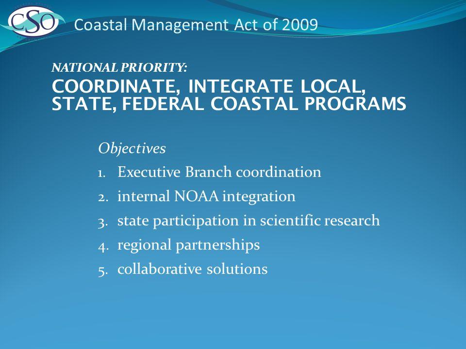 Objectives 1. Executive Branch coordination 2. internal NOAA integration 3.