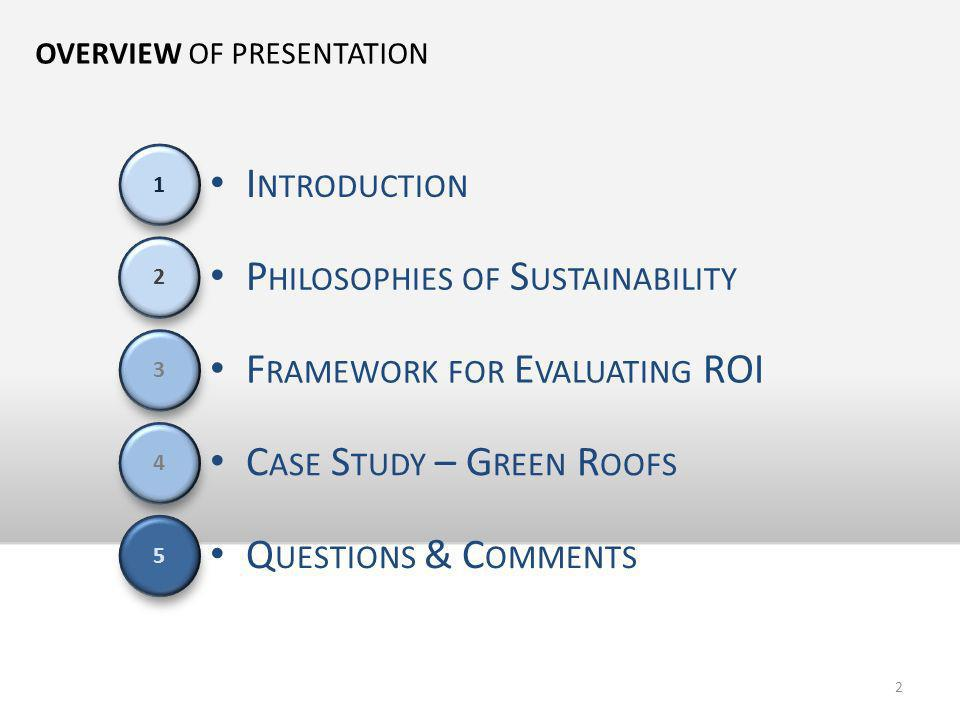 OVERVIEW OF PRESENTATION F RAMEWORK FOR E VALUATING ROI I NTRODUCTION P HILOSOPHIES OF S USTAINABILITY C ASE S TUDY – G REEN R OOFS Q UESTIONS & C OMM