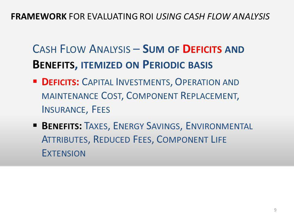 FRAMEWORK FOR EVALUATING ROI USING CASH FLOW ANALYSIS C ASH F LOW A NALYSIS – S UM OF D EFICITS AND B ENEFITS, ITEMIZED ON P ERIODIC BASIS D EFICITS :