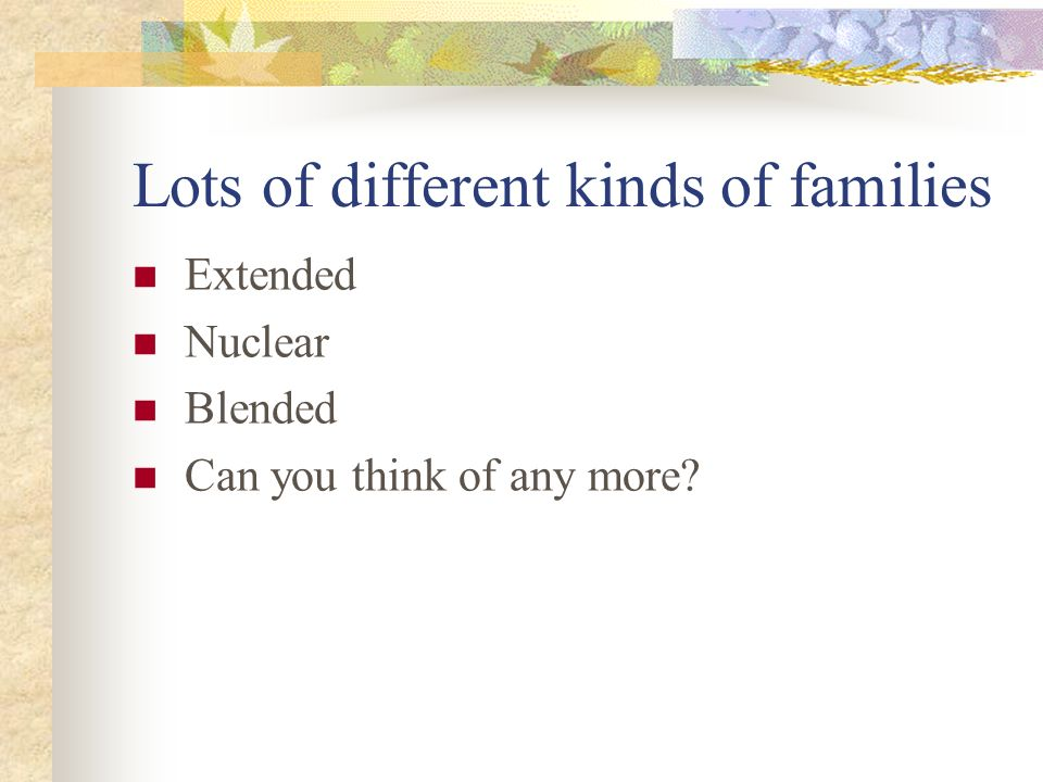 Lots of different kinds of families Extended Nuclear Blended Can you think of any more?