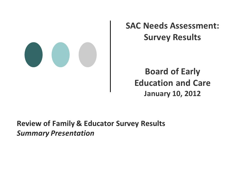 Review of Family & Educator Survey Results Summary Presentation SAC Needs Assessment: Survey Results Board of Early Education and Care January 10, 2012