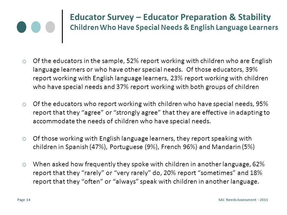 o Of the educators in the sample, 52% report working with children who are English language learners or who have other special needs.