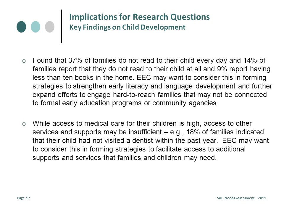 o Found that 37% of families do not read to their child every day and 14% of families report that they do not read to their child at all and 9% report having less than ten books in the home.