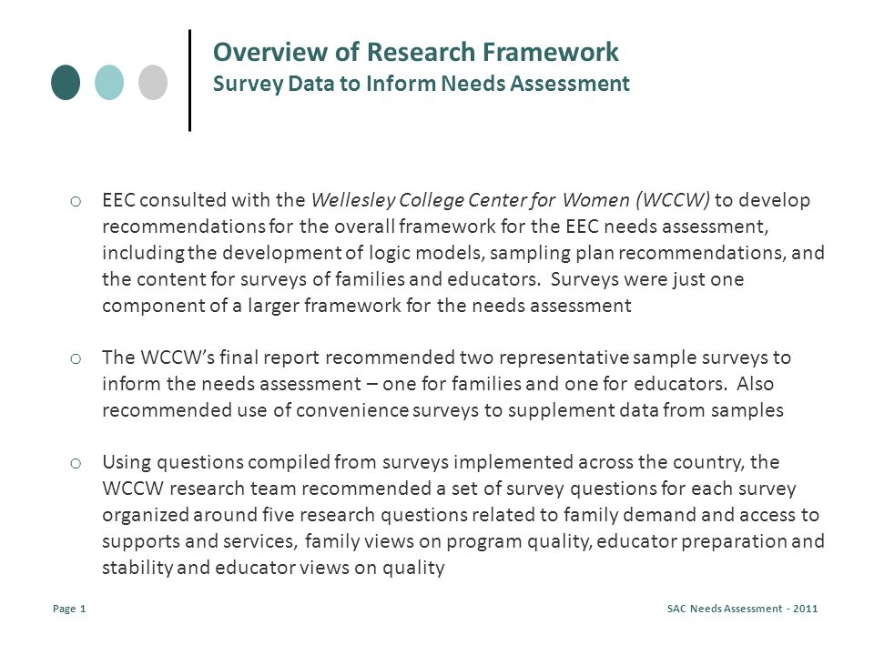 Overview of Research Framework Survey Data to Inform Needs Assessment Page 1 SAC Needs Assessment - 2011 o EEC consulted with the Wellesley College Center for Women (WCCW) to develop recommendations for the overall framework for the EEC needs assessment, including the development of logic models, sampling plan recommendations, and the content for surveys of families and educators.