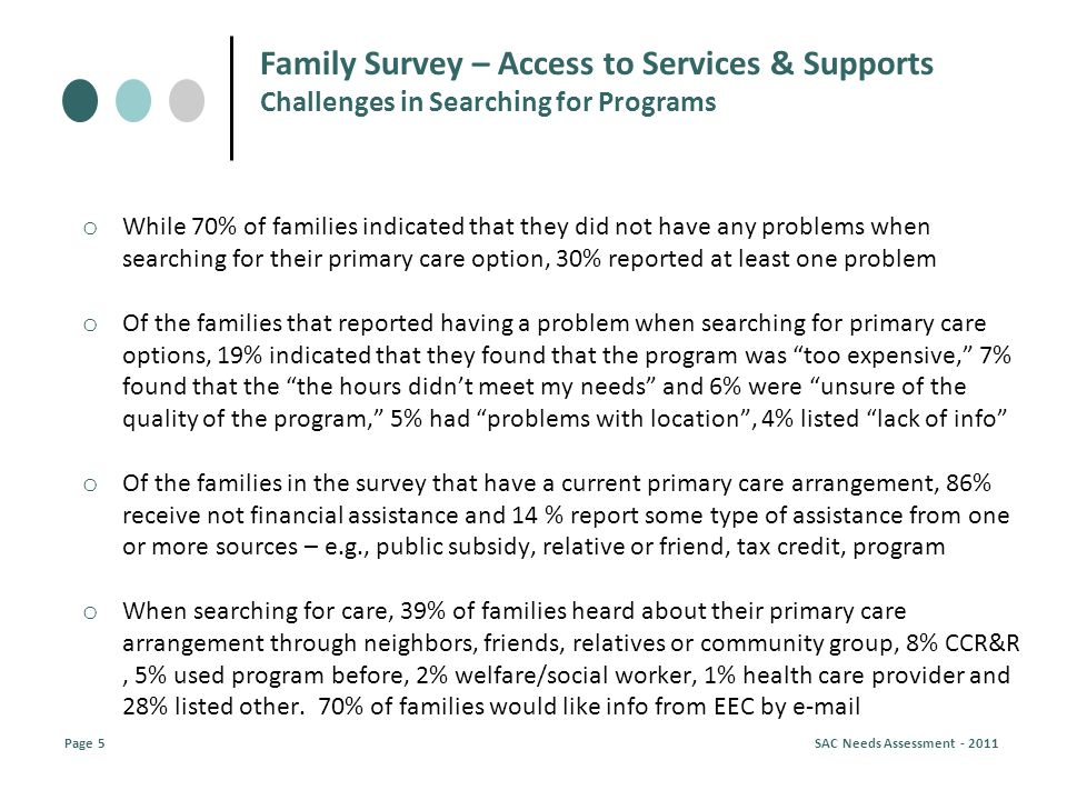 o While 70% of families indicated that they did not have any problems when searching for their primary care option, 30% reported at least one problem o Of the families that reported having a problem when searching for primary care options, 19% indicated that they found that the program was too expensive, 7% found that the the hours didnt meet my needs and 6% were unsure of the quality of the program, 5% had problems with location, 4% listed lack of info o Of the families in the survey that have a current primary care arrangement, 86% receive not financial assistance and 14 % report some type of assistance from one or more sources – e.g., public subsidy, relative or friend, tax credit, program o When searching for care, 39% of families heard about their primary care arrangement through neighbors, friends, relatives or community group, 8% CCR&R, 5% used program before, 2% welfare/social worker, 1% health care provider and 28% listed other.